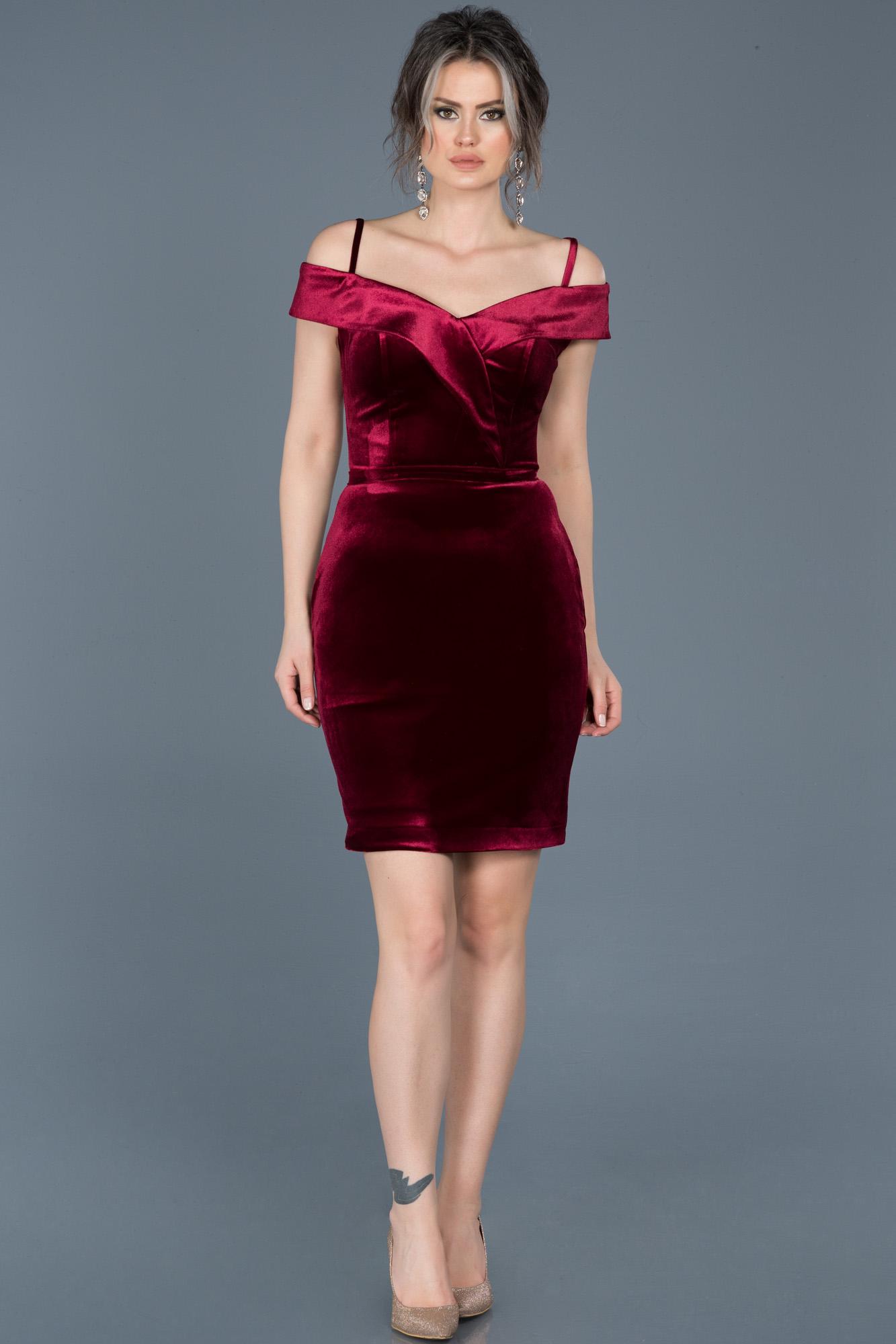 Robe De Soiree Courte En Velours Bordeaux Abk325 Abiyefon Com