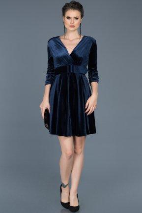 Robe de Soirée Courte en Velours Bleu Marine ABK295 7e4dd868835a