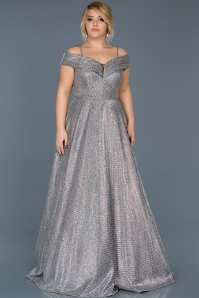 Robe Grande Taille Longue Argent ABU590